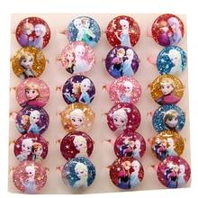 20 штук в партии, милые Мультяшные кольца Эльзы из смолы с милым мультипликационным принтом, Детские вечерние кольца для девочек