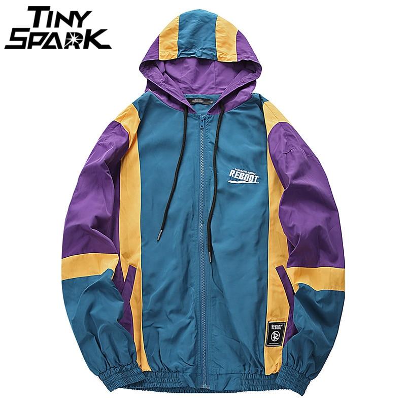 Harajuku Hoodie Jacket Windbreaker Men Hip Hop Streetwear Vintage Color Block Hooded Jacket Coat Autumn 2018 Casual Track Jacket