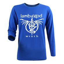 New Arrivals 2017 Fashion Autumn Casual Cotton Punk Boys Long Sleeve T Shirt Men Brand Logo Red Crewneck Lamb Of God Rock Band