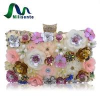 2016 Women Flower Beaded Clutch Handbag Wedding Party Evening Purse Crossbody Shoulder Bag Mini Small Pink