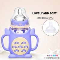 Anti flatulence Totoro Glass Baby Milk Feeding Bottle 240ml Infant Silicone Nursing Feeder Anti fall Wide caliber Glass Bottles