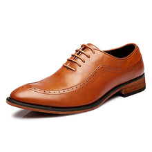 High Quality  Men Point Toe Brogue Shoes Formal Genuine Leather Shoes Youth Dress Men Oxfords Shoes