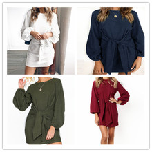 S-2XL women o neck long sleeve mini dress lady autumn spring wrap hip short brand casual leisure pure color loose