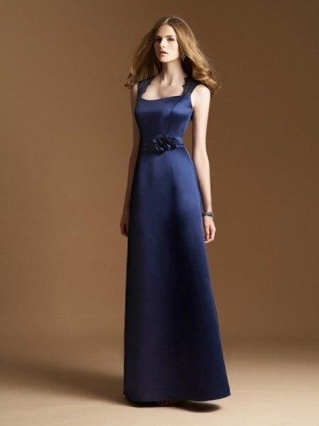 Encanto  Largos Vestidos de Dama de Longitud Del Piso Una Línea de Encaje Satina