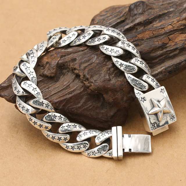 76 6g Heavy Solid Silver 925 Thick Link Chain Bracelet Men Simple Star Gothic Punk Real