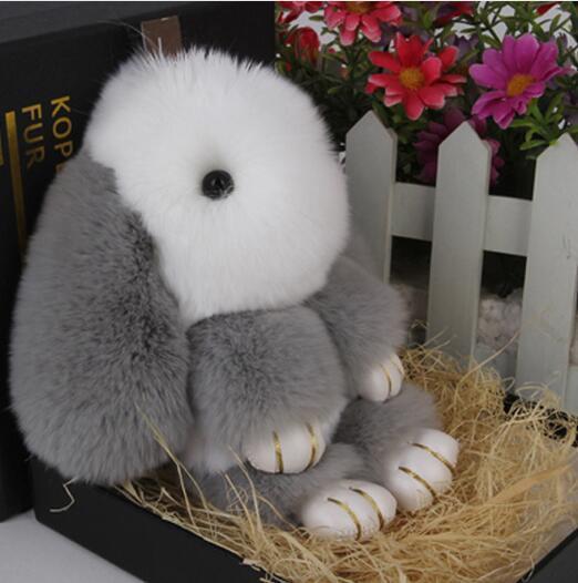 Selling Little Bunny Bag Charm Fur Pom Poms Keychains Luxury Car keychains Pendant of Rex rabbit Bird monster Free Shipping