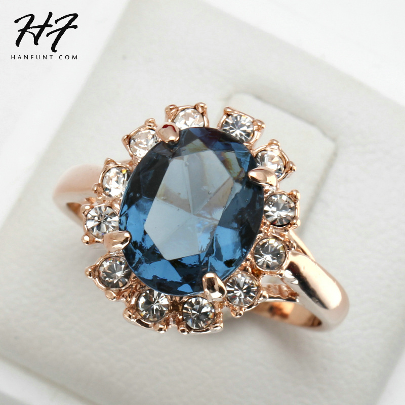 Top Quality Rose Gold Color Blue CZ Cubic Zirconia Ring Bague Fashion Cubic Zirconia Anniversary Jewelry