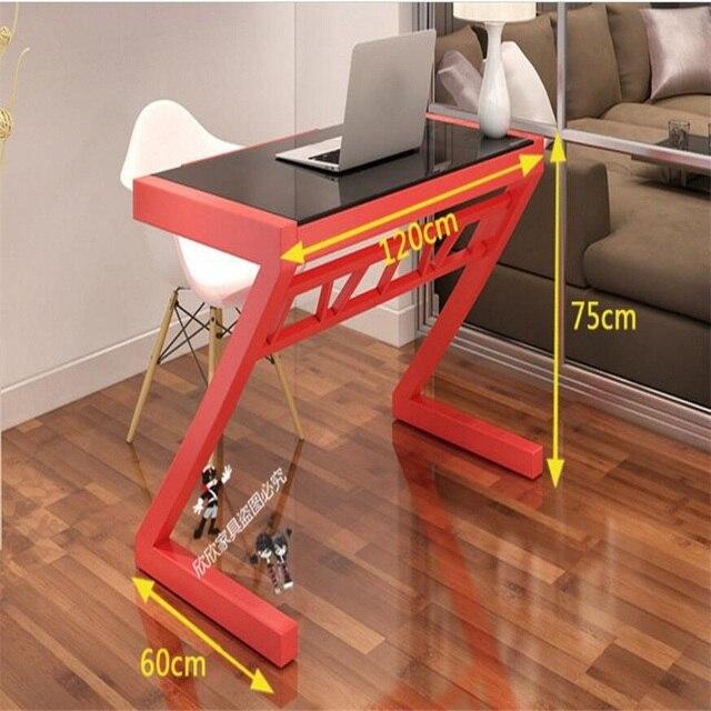 120*60CM Z Style Office Writing Table Tempered Glass Computer Desk Modern  Laptop Desk