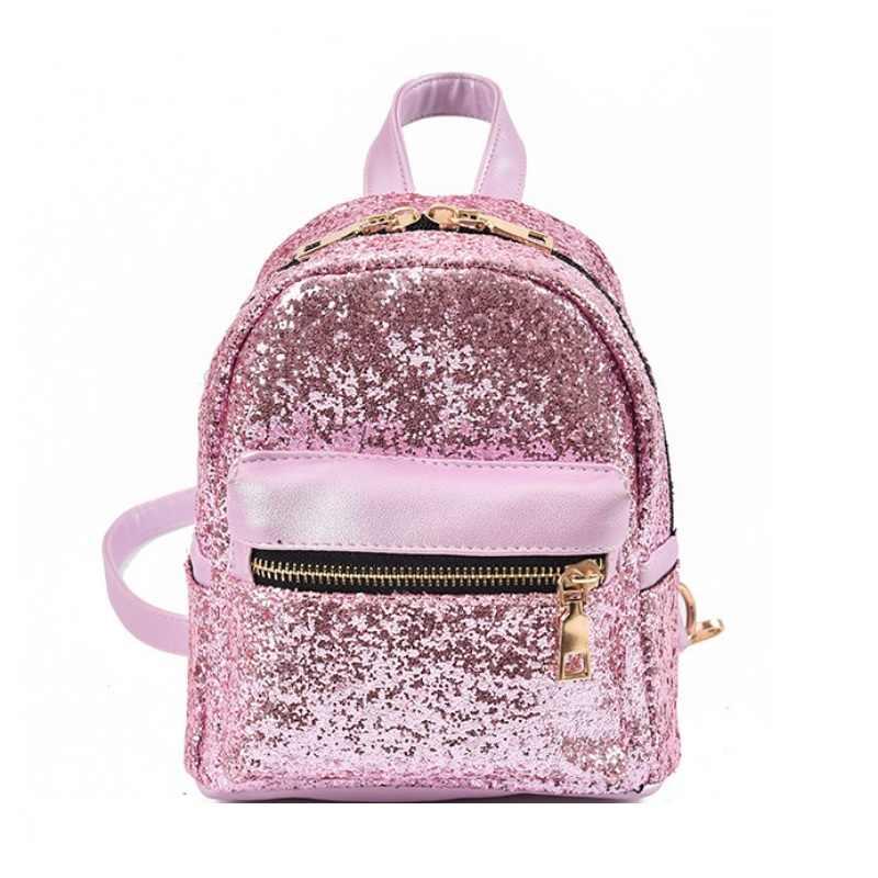 Женский рюкзак из искусственной кожи с блестками, женская школьная сумка, модная блестящая маленькая сумка на плечо для девочек-подростков, блестящая сумка на плечо