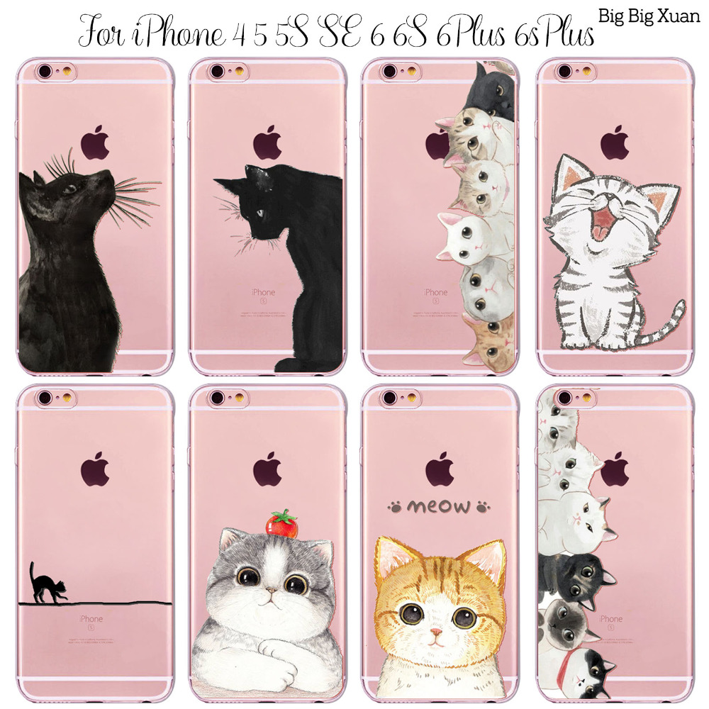 New! Funny Cats Cases For iphone 6 6S 5 5S SE 5C 6PLUS 6SPlus 4 4S Clear Ultrathin TPU Back Cover Coque For Apple Cute Cartoon
