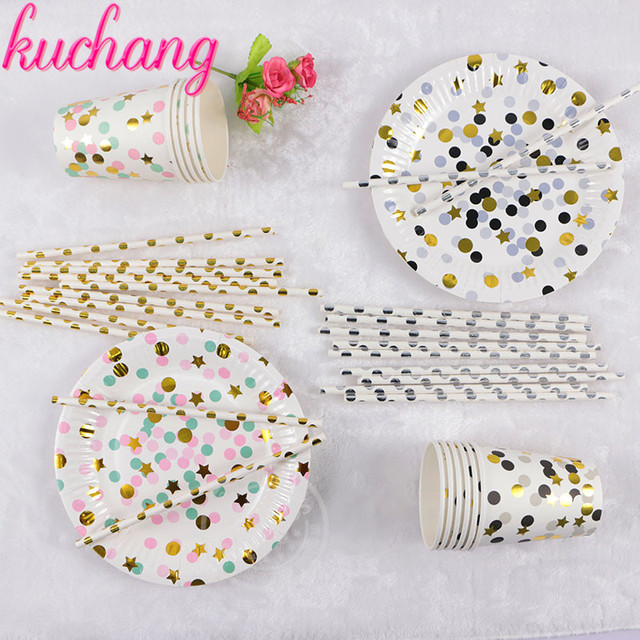 1set 45pc High end Disposable Tableware Colorful Gold Black Silver ...