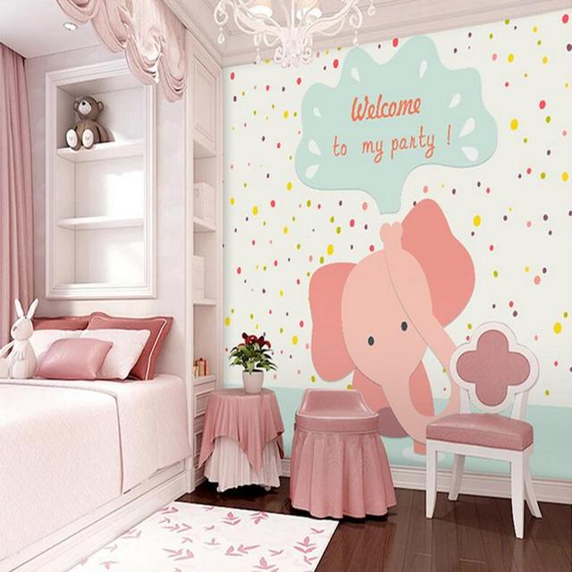 custom wall mural 3D stereo cute pink elephant large mural ...