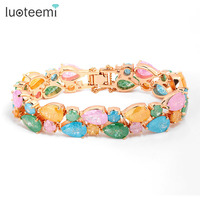 New Fashion High Quality 4 Colors Options Mona Lisa Bracelet With Ice Flower Cubic Zirconia For