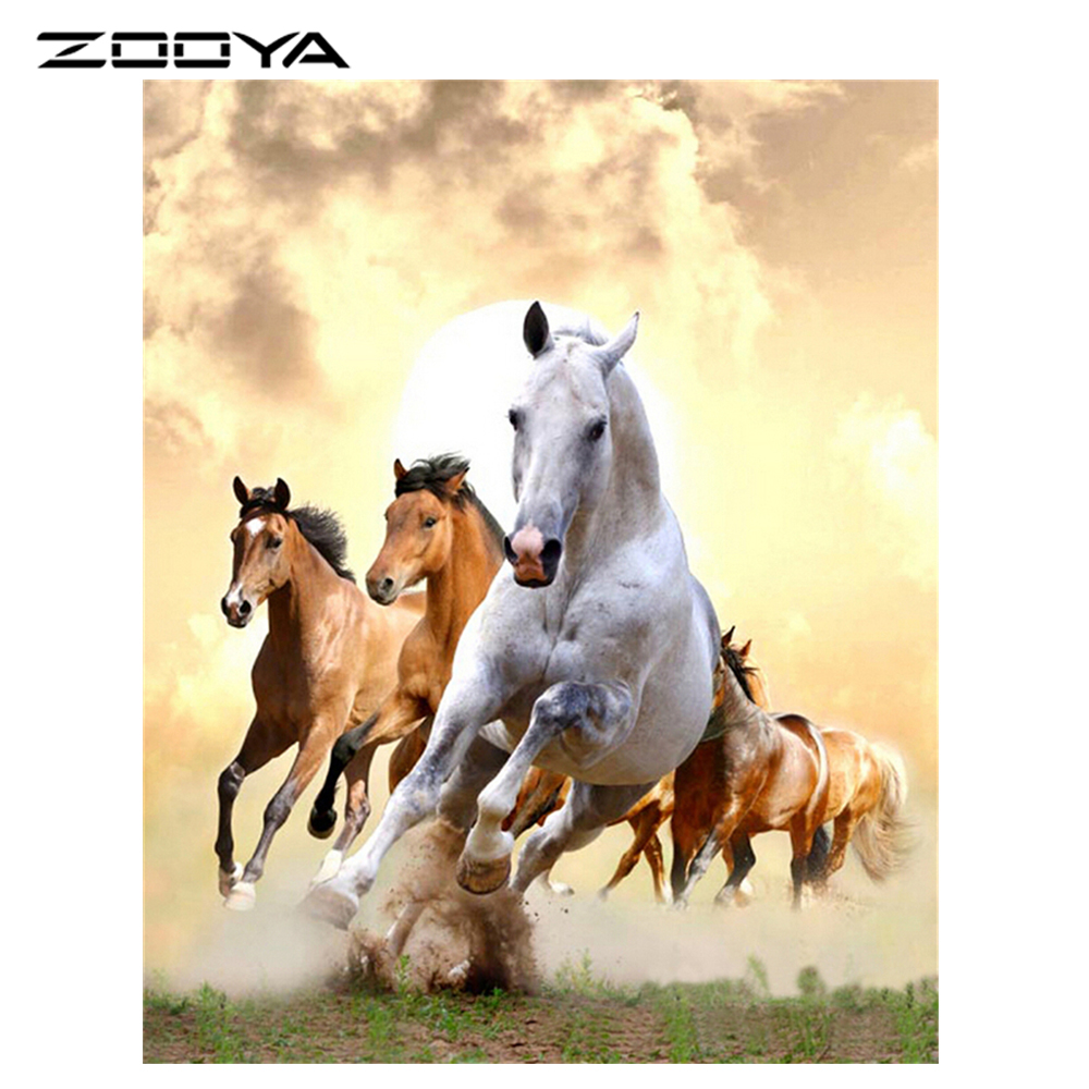 DIY 3D Diamond Painting Square Full Diamond Mosaic Embroidery Resin Craft Scroll Painting Cross Stitch Home Decor Horse AT485