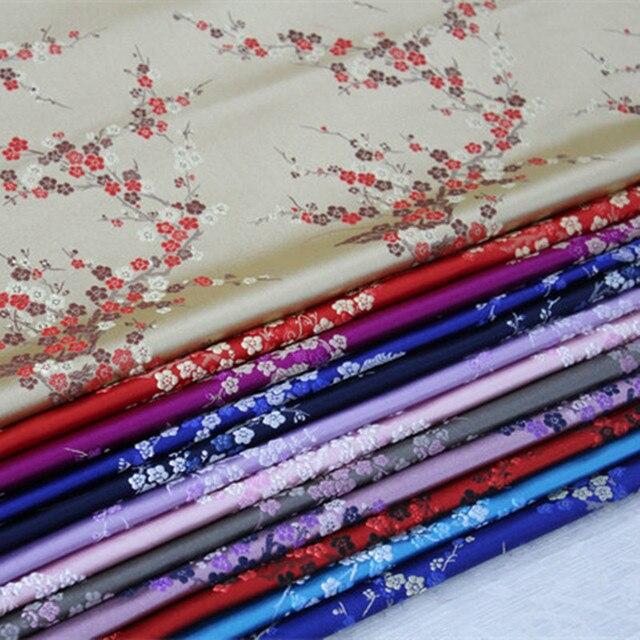 Tissu de couverture en tissu de couture   Tissu chinois en Brocade de fleurs de prunier chinois Cheongsam pour vêtements Costumes bricolage CF61 1 cour
