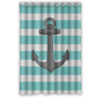 Nice Designed Waterproof Polyester Bathroom Curtain Custom Vintage Nautical Anchor Shower Curtain 48 72 9 Holes