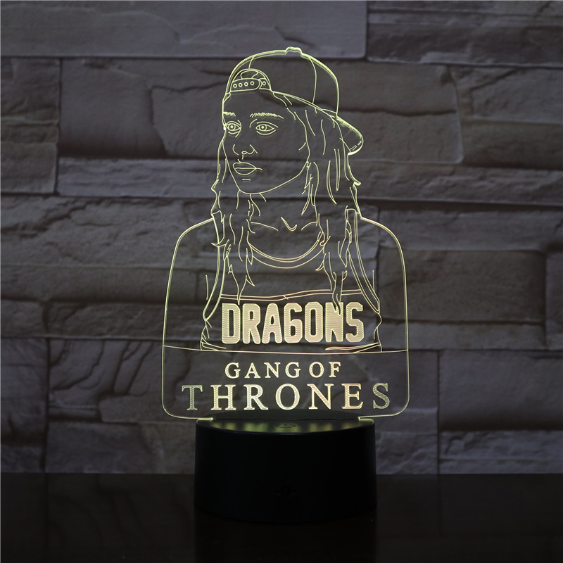 Game of Thrones Dragon Girl A Song of Ice and Fire 7 Colors Chang 3D LED Night Light Sleep Bedroom Decor Lamp Girls Kids Gift