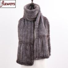 New Winter Women Hand Knitted 100% Genuine Mink Fur Scarf Shawl Natural Warm Mink Fur Muffler Lady Quality Real Mink Fur Scarves