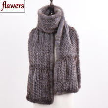 Scarf Shawl Muffler Hand-Knitted Mink-Fur Winter Women Warm Natural Quality Lady New