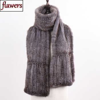 New Winter Women Hand Knitted 100% Genuine Mink Fur Scarf Shawl Natural Warm Mink Fur Muffler Lady Quality Real Mink Fur Scarves - DISCOUNT ITEM  50 OFF Apparel Accessories
