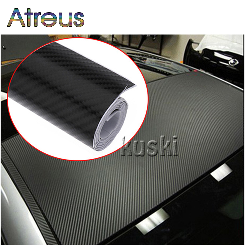 Atreus 30cmx127cm Carbon Fiber Car Styling Stickers For Jeep Renegade Wrangler Grand Cherokee Acura IX25 Mini Cooper Accessories car seat covers for jeep grand cherokee compass commander renegade wrangler peugeot 4007 4008 405 406 407 4085008 508 607 807