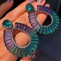 Colorful Big Drop Earrings For Women Elegant Shiny Zirconia Stone Boho Dangle Wedding Earring Crystal Glass Jewelry accessories