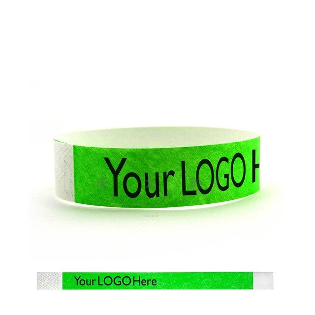 c560162b9700 € 107.13 |1000 piezas 1 Logotipo de color/impresión de texto pulsera  personalizada impermeable, pulseras de papel tyvek personalizadas, pulseras  ...