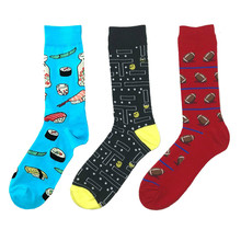 PEONFLY Fashion Printing Cartoon Sushi Maze Ball Pattern Man Business Casual hip hop Cotton Socks Red Blue Black Autumn Winter(China)