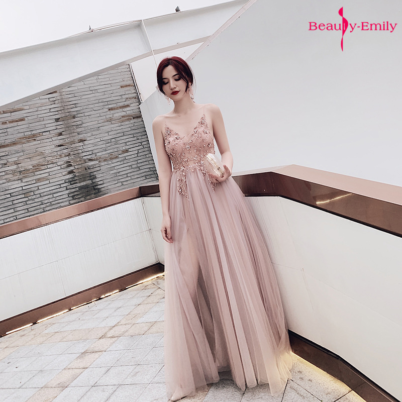 Beauty Emily Sexy Sling V Neck Evening Dresses Lace Sleeveless Sequins Beads 2020 Party Dress Open Back High Split Prom Gowns