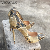 Veowalk 8cm/10cm/12cm Python Printed Women Sexy Pointed Toe Stiletto High Heels Ladies Fashion Pumps Party Bridal Shoes Big Size