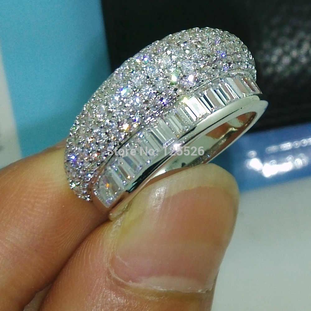 Victoria wieck jóias na moda deslumbrante princesa corte aaa cz simulado pedras 10kt ouro enchido anel de banda de casamento conjunto presente tamanho 6-9