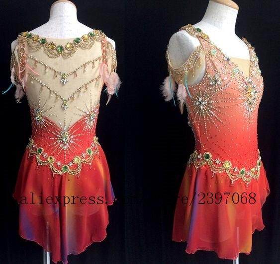 На фигурных коньках платья для девочек костюм для соревнований по фигурному катанию платья Красный пользовательские спандекс кристаллы Де