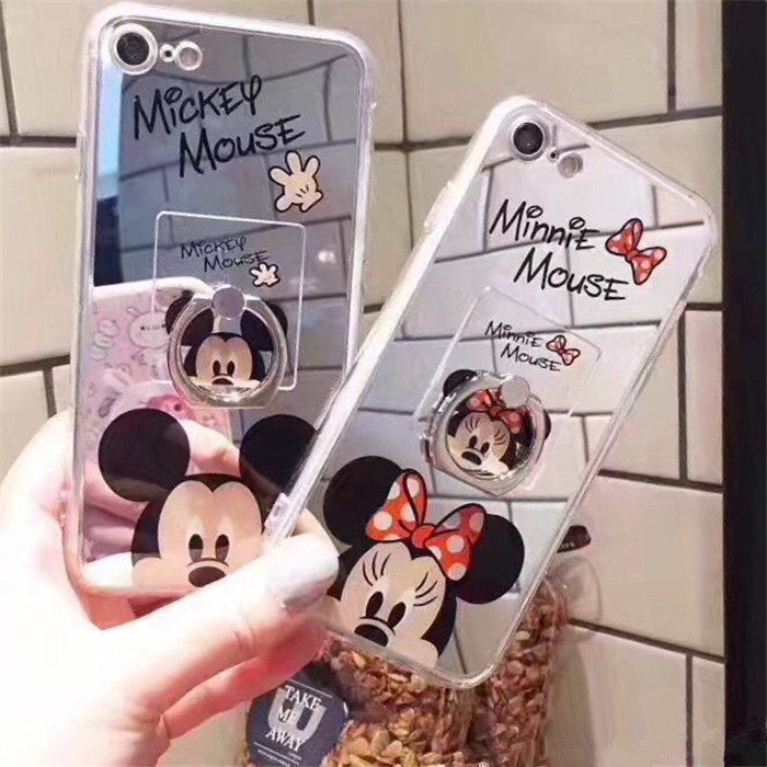 Cute Mickey Minnie Phone Cases for iPhone X 6s 6 7 8 Plus Soft Mirror Case Covers With Finger Ring For Samsung Galaxy S8 S9 Plus