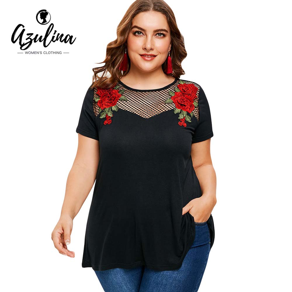AZULINA Plus Size Hollow Out Applique Tunic T-Shirt Women T Shirt Summer Causal Elastic Short Sleeves T-Shirts Big Size 5XL Tops striped plus size t shirt with applique