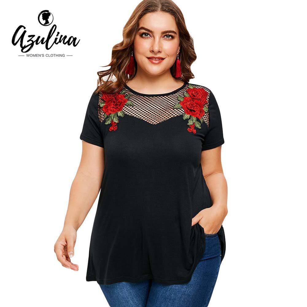 AZULINA Plus Size Hollow Out Applique Tunic T-Shirt Women T Shirt Summer Causal Elastic Short Sleeves T-Shirts Big Size 5XL Tops