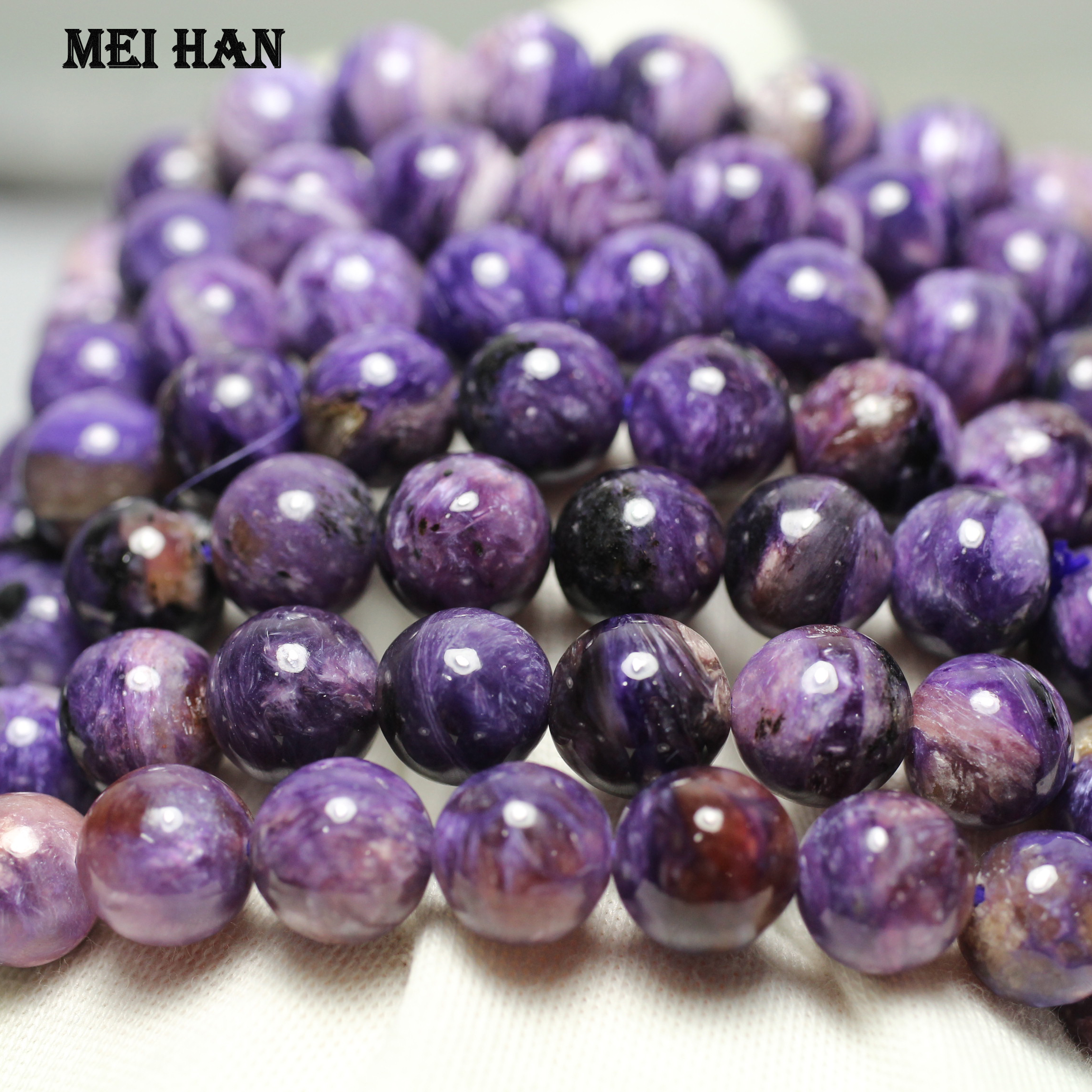 Meihan Free shipping (38 pcs/set/50g) 9.8-10mm natural Russian Charoite  smooth round charm gemstone for jewelry making(China)