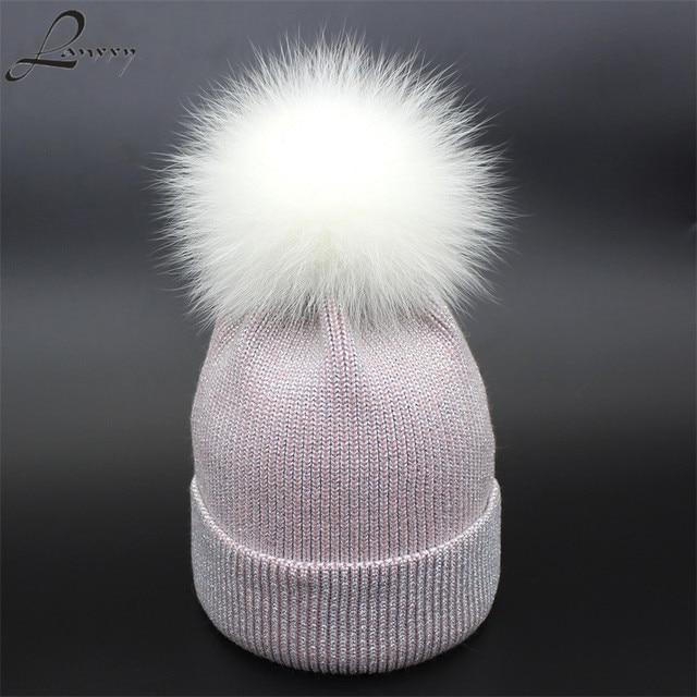 4e0999df822 Lanxxy 2018 Winter Hats for Women Bonnet Beanies Caps Real White For Fur  Pompom Hat Bright