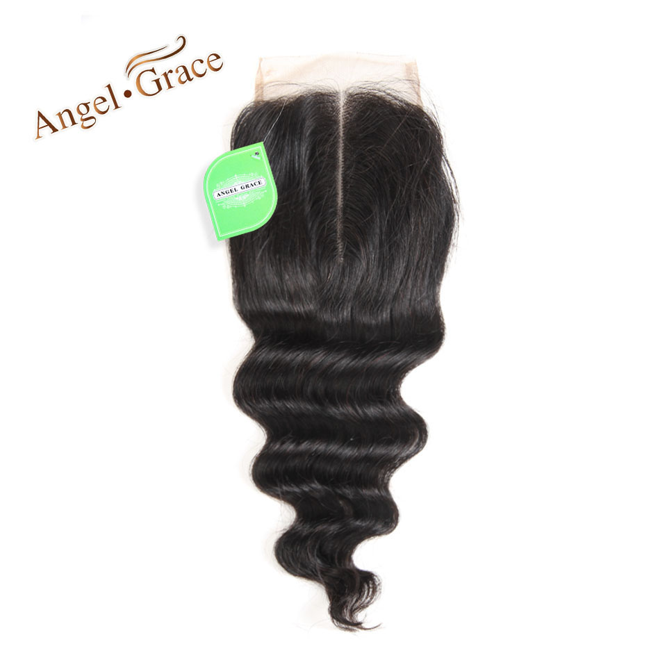 [ANGEL GRACE HAIR] Brazilian Remy Hair Lace Closure Middle Part Loose Wave Human Hair 4X4 Swiss Lace Natural Color Shipping Free