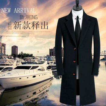 Black casual long woolen coat men trench coats long sleeves ingle-breasted overcoat mens cashmere coat casaco masculino england