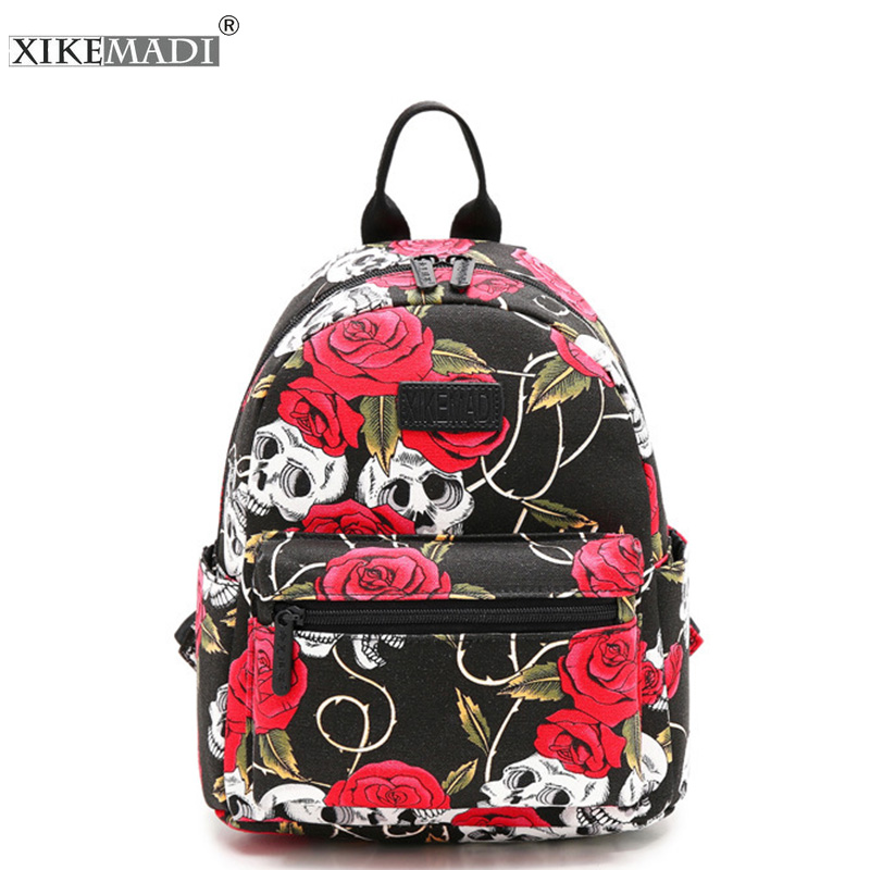 Preppy Backpack Computer-Bag Canvas Teenager Female Girls Casual Women Ladies for Flower-Printing