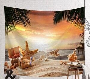 Image 4 - CAMMITEVER Tramonto Blu Mare Verde Albero di Cocco Spiaggia di Sabbia Arazzo Appeso A Parete Arazzi Boho Copriletto Yoga Zerbino Coperta