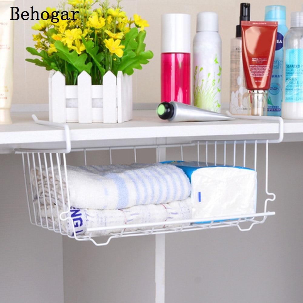 Behogar multi purpose metal hanging under shelf basket for Under shelf basket wrap rack