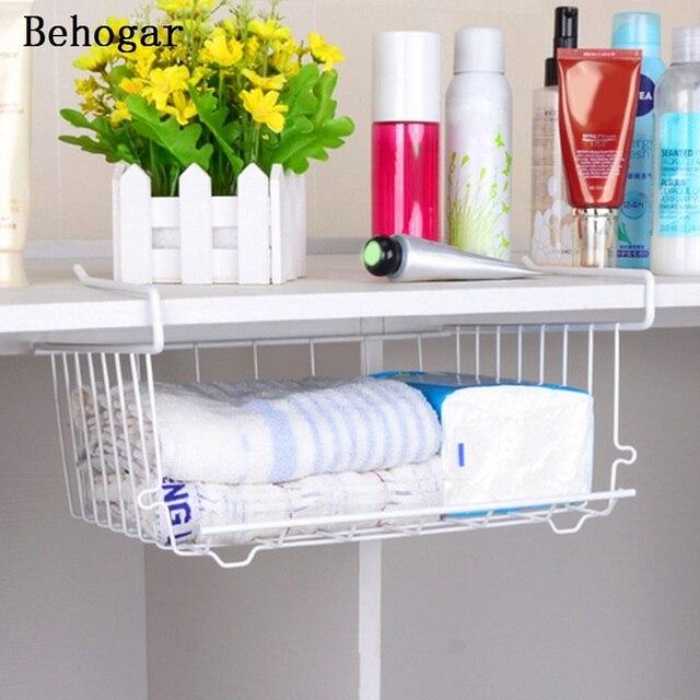 Behogar Multi Purpose Metal Hanging Under Shelf Basket Storage Holder Hanger Drawer Closet Organizer Wrap