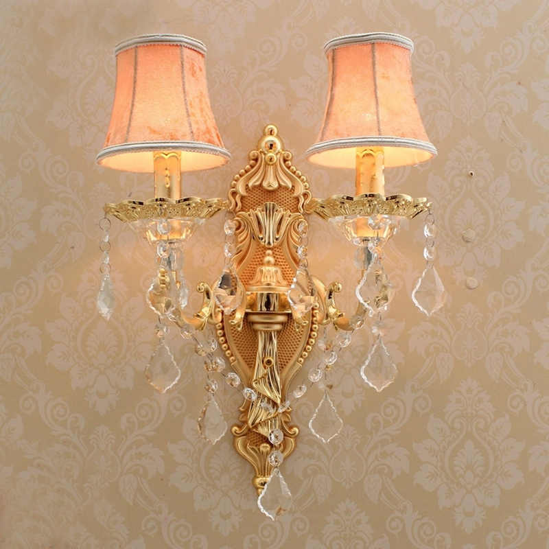 Gold Wall Sconce With Lamp Textile Shade Modern Wall Lights For