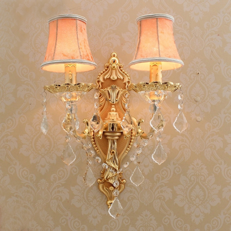 Satin gold wall sconce with fabric shade modern wall Contemporary wall sconces for living room