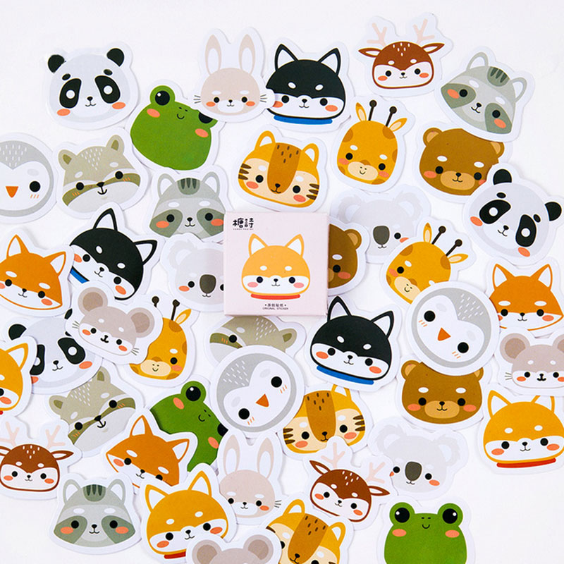 45pcs/box Cartoon animal head paper sticker Cute panda rabbit penguins decora diy diary scrapbooking sticker children stationery 45pcs box cute animal crystal ball mini paper decoration stickers diy diary scrapbooking seal sticker stationery school supplies