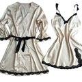 Женская сна и lounge ночная рубашка + халат из двух частей набор роскошные сексуальные женские пижамы шампанское шелковый атлас груза падения