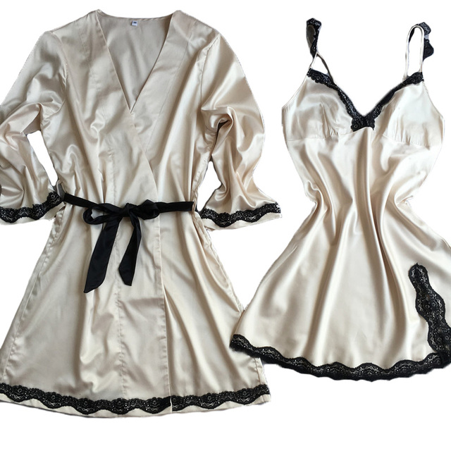 women's nightgown + bathrobe two pieces sleep & lounge set luxury sexy female sleepwear champagne silk satin drop shipping