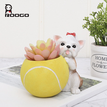 Roogo Mini Plant Pot Animal Planter Ball Game Dogs Home Decoration Accessories Office Modern Flowerpot for Succulents