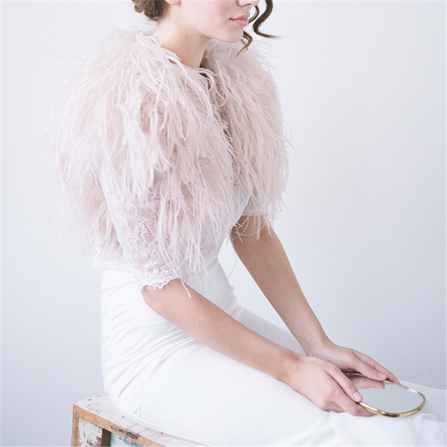 69553475d930f 100% Blush Pink Ostrich Feather BRIDAL BOLERO Fur Jacket For Lady Women  Evening Gown Wedding dress Bridesmaid Fur Wrap Shawls